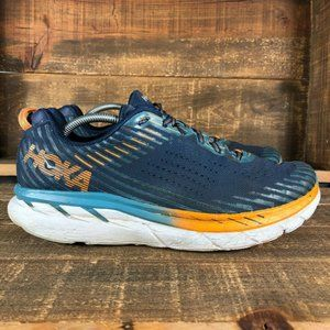 Hoka One One Mens Clifton 5 Blue Athletic Shoes 12
